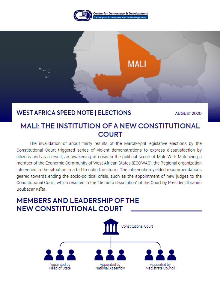 WEST AFRICA SPEED NOTE ON ELECTIONS