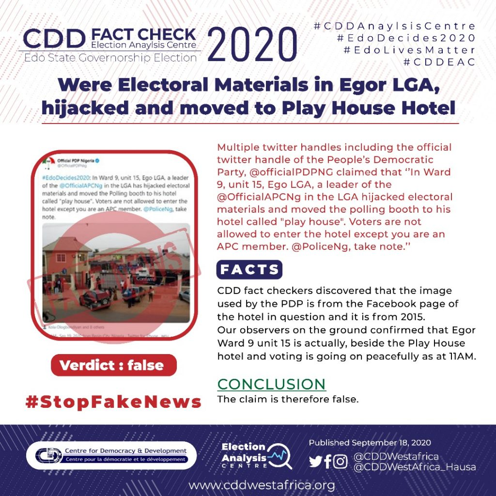 FACT-CHECK: Were Electoral Materials in Egor LGA, Hijacked,  Moved to Play House Hotel?