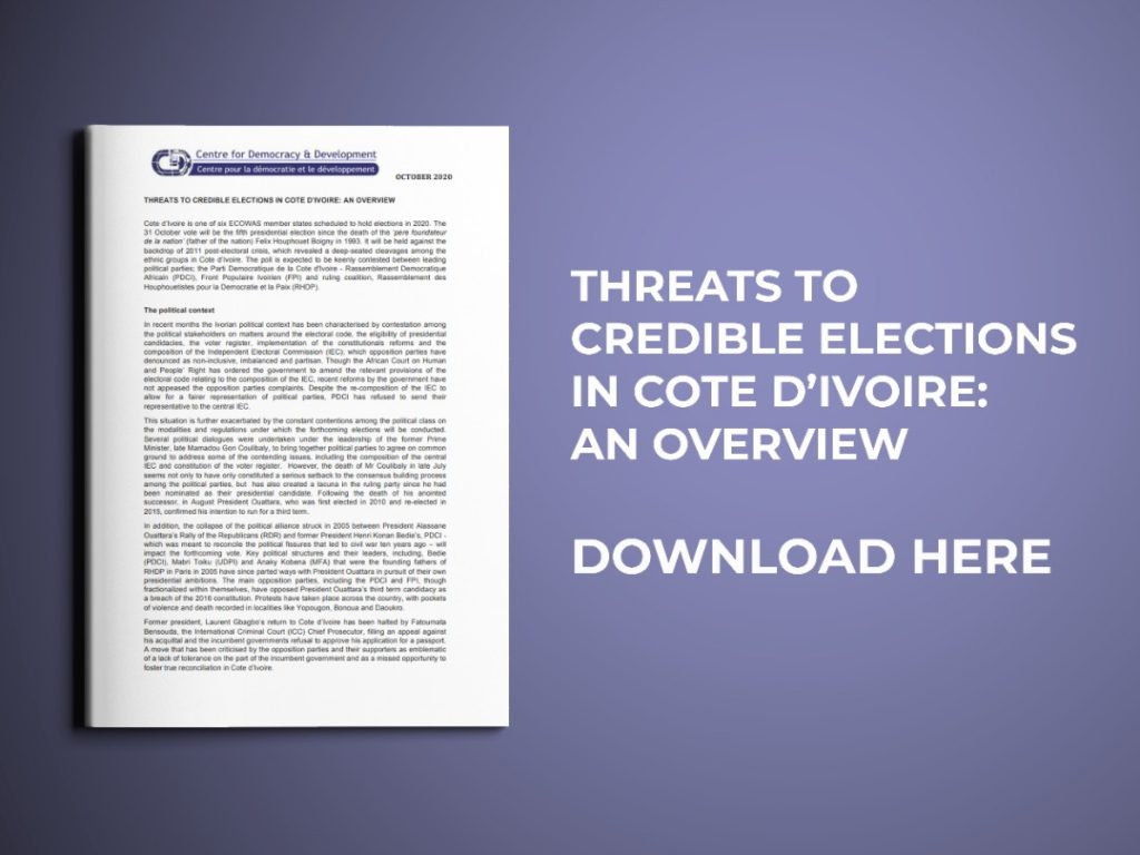 THREATS TO CREDIBLE ELECTIONS IN COTE D'IVOIRE: AN OVERVIEW